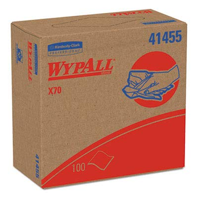 Kimberly Clark Safety 41455 White Wypall Disposable X70 Wiper, 9.1'' Width x 16.8'' Length (Pack of 1000)