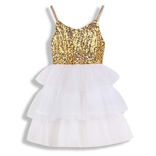 Toddler Kids Baby Girls Dress Sleeveless Sequins Bow-Knot Party Wedding Prom Princess Lace Tutu Tulle Outfits (18-24 Months, Gold & White) -