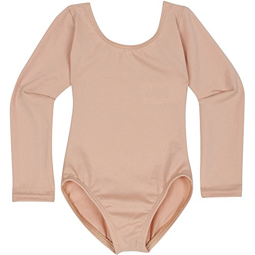 Toddler and Girls Leotard for Dance, Gymnastics and Ballet with Long Sleeve Nude Beige XS (2-3T) -