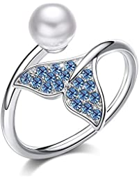Swarovski Ring Mermaid Tail 925 Sterling Silver Ring for Women Freshwater Cultured Pearl Fine Jewelry