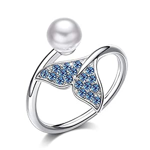 CDE 925 Sterling Silver Mermaid Tail Rings for Women Crystals Ring Freshwater Cultured Pearl Fine Jewelry Gift for Girls…
