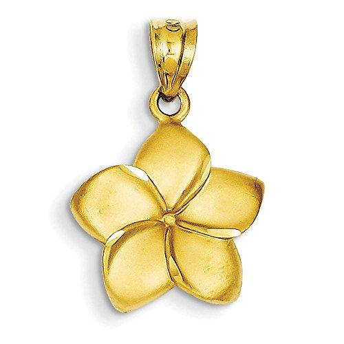 Pendant Mm Plumeria 15 (14k Yellow Gold Plumeria Floral Charm Pendant 24mmx15mm)