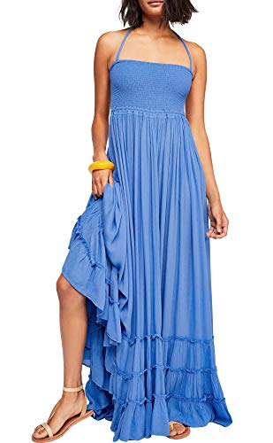 R.Vivimos Womens Summer Cotton Sexy Blackless Long Dresses (Large, Sky Blue)