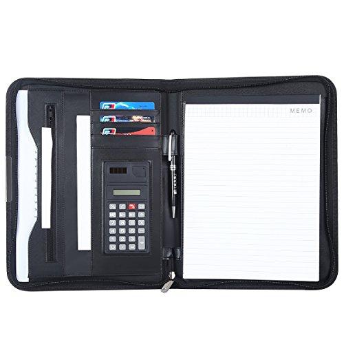Leathario Portfolio A4 File Folder Padfolio Writing Pad Business Presentation Folder PU Black ()