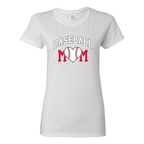 UGP Campus Apparel Baseball Mom - Baseball, Mom, Women, Sports, Ladies T-Shirt Basic Cotton - 2X-Large - White ()