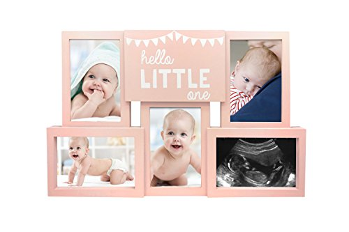 Baby Girl Ultrasound Photos - Tiny Ideas Hello Little One Collage Baby Keepsake Photo Frame Displays 5 Pictures, Pink