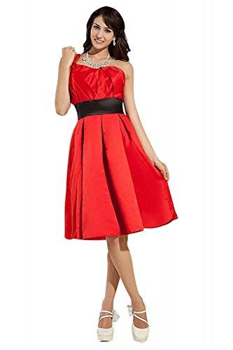 Schaerpe Eine Rot mit Rueschenband knielangen Schulter BRIDE schwarze GEORGE Abendkleid BvxAF0q