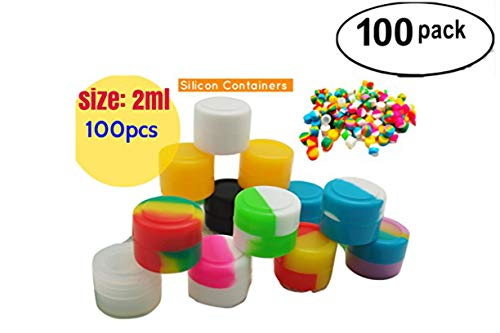 2ml Non-Stick Food Grade Silicone Oil Kitchen Container Dab Wax Concentrate Storage Jars, silicone wax containers,empty jars for cosmetics (100, colorful)