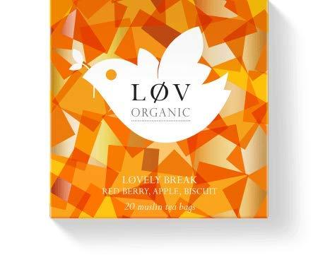 Løv Organic Løvely Break Herbal Tea - Rosehip, Apple, Elderberry, Hibiscus, Blueberries, and Morniga Infusion Soothing Stress Reliever Perfect for Tea Lovers (20 Muslin Tea Bags 20 Servings)
