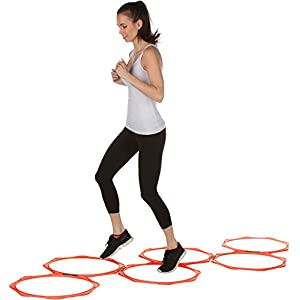 "20"" Hexagonal Speed & Agility Training Rings Set of 6 with Carry Bag by Trademark Innovations"