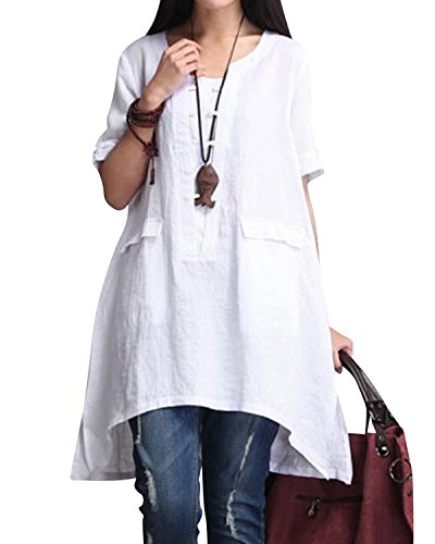 BBYES Women's Short Sleeve High Low Loose Tunic Dress Basic Tee Tops with Side Split White 2XL