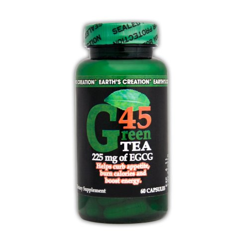 225 Mg 60 Capsules - Earth's Creation Green Tea G45 - 225mg of EGCG - Helps Suppress Appetite & Boost Energy - 60 Capsules