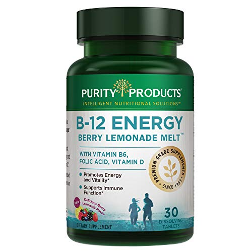 Tablets 30 Folic Acid (B-12 Energy Berry Lemonade Melt with Super Fruits | Methylcobalamin Sublingual B12 | Vitamins B6, D3, Folic Acid & Biotin | 30 Melting Tablets | Purity Products)