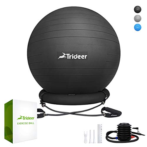 Trideer Exercise Ball Chair, 65cm Stability Yoga Ball with Base & Resistance Bands for Home and Office Desk, Flexible Ball Seat with Pump, Improves Balance, Core Strength & Posture (Black) (So Alpha Exercise Ball With Resistance Bands)