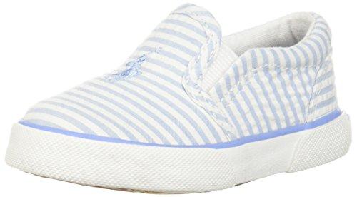 - Polo Ralph Lauren Kids Boys' BAL Harbour II Sneaker, Elite Blue Striped Seersucker, 5 Medium US Toddler