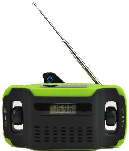 Kaito KA300 Solar/Hand Crank AM/FM Emergency Radio with Digital Alarm Clock, Cell Phone Charger & 3-LED Flashlight