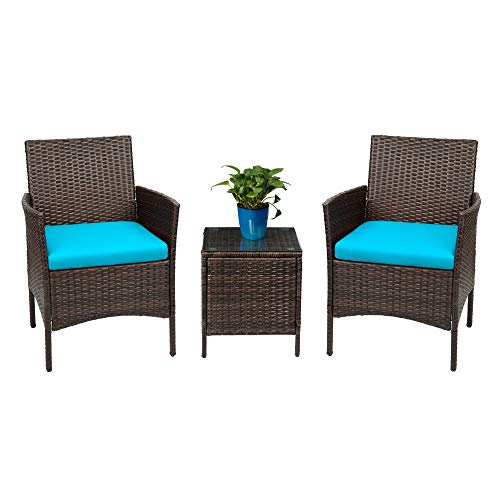 Devoko Patio Porch Furniture Sets 3 Pieces PE Rattan Wicker Chairs with Table Outdoor Garden Furniture Sets (Brown/Blue) (Clearance Table And Outdoor Chairs)