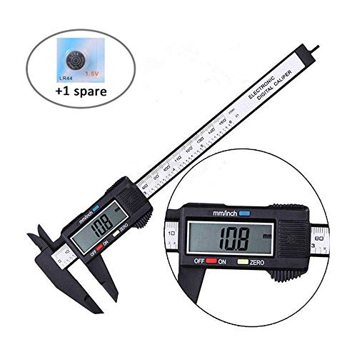"""Digital Caliper, Jsdoin 0-6"""" Calipers Measuring Tool - Electronic Micrometer Caliper with Large LCD Screen, Auto-off Feature, Inch and Millimeter Conversion (Black)"""