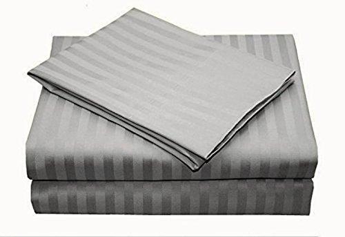 Linenwalas 300TC Hotel Collection Queen Size 4pc Bedding Set 100% Cotton, Sateen Stripe, Deep Pocket - Grey - 300tc Sateen Stripe