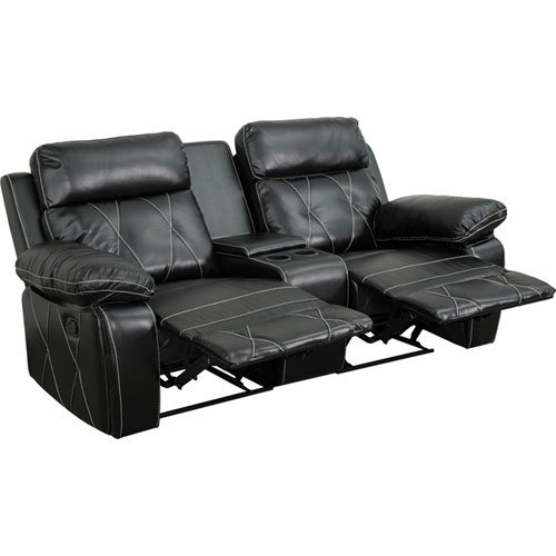 Parkside Home Comfort 2-Seat Reclining Black Leather Theater Seating Unit with Straight Cup Holders by Parkside