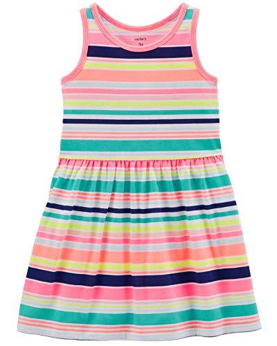 Carter's Girls' 2T-8, Lightweight Cotton Jersey Tank Dresses (Multi Neon Stripes, ()