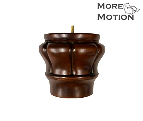 "MoreMotion H-2.5, W-5.25"" Walnut Finish Carved Wooden Legs, Set of 4"