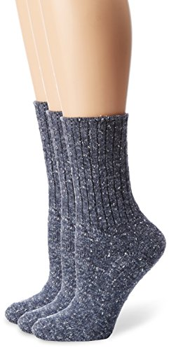 No Nonsense Women's Essential Boot Sock 3-Pack, Denim Tweed, One ()