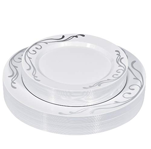 50 Piece Silver Scroll Rimmed Disposable Plates - Fancy Plastic Plates for Wedding - Includes 25 Dinner Plates, 25 Salad Plates (Silver Scroll)