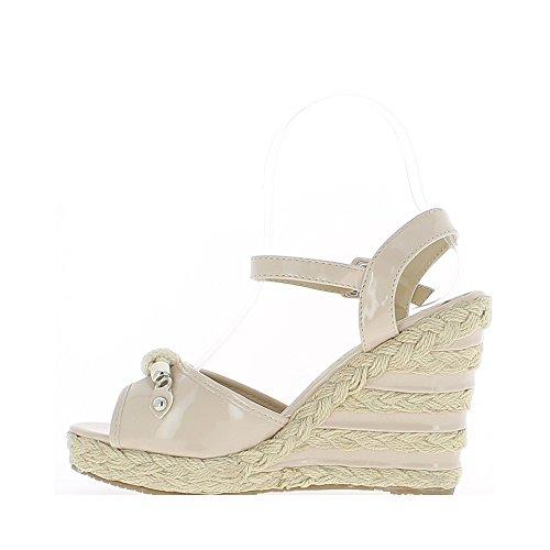 ... Zeppa sandali 11cm e ripiano verniciato beige donna ...