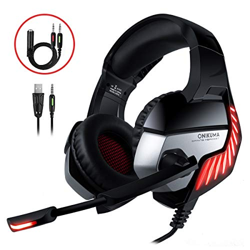 CHEREEKI Gaming Headset, Gaming Headphones with Noise Cancelling Mic & Volume Control & LED Light for PC / PS4