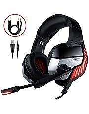 Cascos Gaming CHEREEKI Cascos para Juegos PS4, PC, Xbox One Auriculares Gaming Estéreo Ajustable Gaming con Micrófono y Control de Volumen, Bass Surround y Cancelación de Ruido