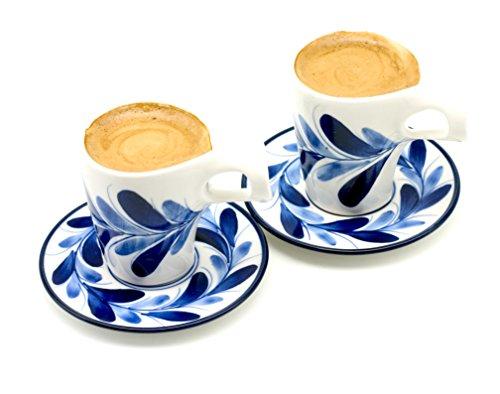 Espresso Cup and Saucer Set Finger Cross Wave Handle Porcelain Blue Vine Painting by HomeModum Set of 2 ()