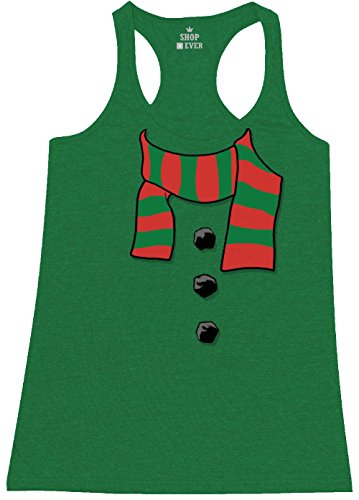 Jingle Bell Rock Costume (Shop4Ever Snowman Scarf Costume Women's Racerback Tank Top Christmas Tank Tops X-Small Heather Kelly Green 17501)