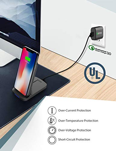 Wireless Charger, Alpatronix CX200 10W Qi-Certified Charging Stand Compatible for (7.5W) iPhone 11/11 Pro/Max/XS Max/XR/XS/8 Plus (10W) Galaxy S10+/S9+/S8+/Note 8,9 with QC 3.0 Wall Adapter (Black)