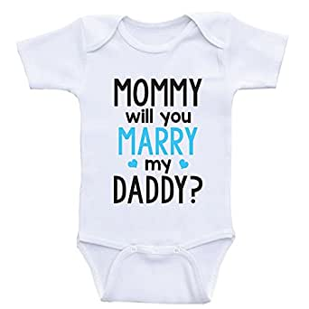 19a29beb8 Image Unavailable. Image not available for. Color: Heart Co Designs Cute  Proposal Baby Onesie Mommy Will You Marry My Daddy ...