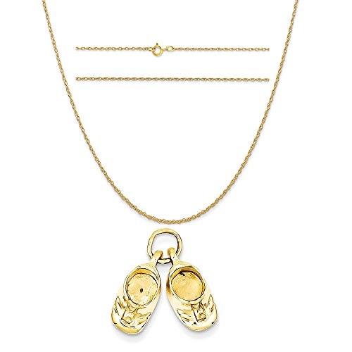 14k Polished Baby Shoes (14k Yellow Gold Polished Baby Shoes Charm on a 14K Yellow Gold Carded Rope Chain Necklace, 20