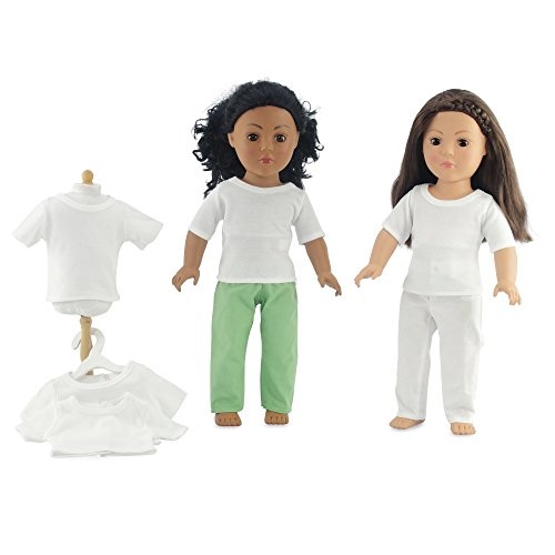 "18 Inch Doll Clothes/Clothing Fits 18"" American Girl Dolls - Value Pack Plain White T-shirts 18"" Outfit I Gift-Boxed!"