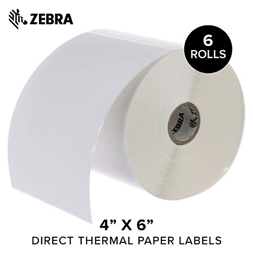 - Zebra - 4 x 6 in Direct Thermal Paper Labels, Z-Perform 2000D Permanent Adhesive Shipping Labels, Zebra Desktop Printer Compatible, 1 in Core - 6 Rolls