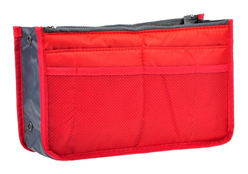 Vercord Purse Organizer Insert Handbag Organizer Bag in Bag 13 Pockets Red Large