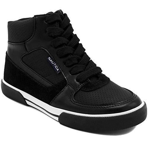 Nautica Kids Horizon Sneaker-Lace Up Fashion Shoe- Boot Like High Top 13 Black