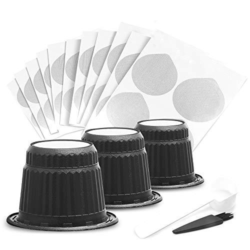BRBHOM disposable coffee capsule with sealed aluminum Capsules Espresso Coffee Capsules Compatible with Nespresso Original Line Machines (10 Pods,10 Lids)