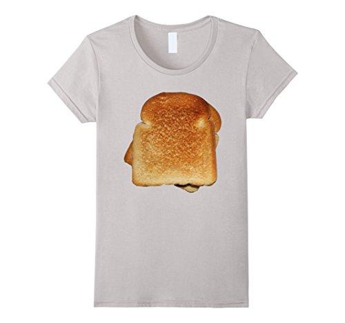 Womens Bread Toast T-Shirt Halloween Costume Matching Gift Tee Medium Silver -