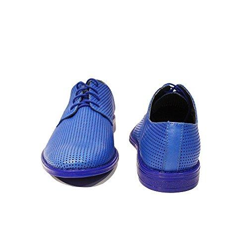 Modello Abele - Handgemachtes Italienisch Leder Herren Blau Oxfords Abendschuhe - Rindsleder Geprägtes Leder - Schnüren