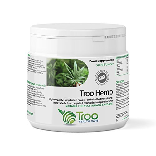 Troo-Hemp Hemp Protein Powder 500g - UK Manufactured To GMP Code Of Practice by Troo Health Care by Troo Health Care