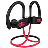 Nanle Bluetooth Wireless Headphones Durable IPX7 Waterproof Sports Earphones w/Mic, Secure Comfort Fit Earbuds for Running Noise Cancelling Sweatproof Headsets (Color : Red)