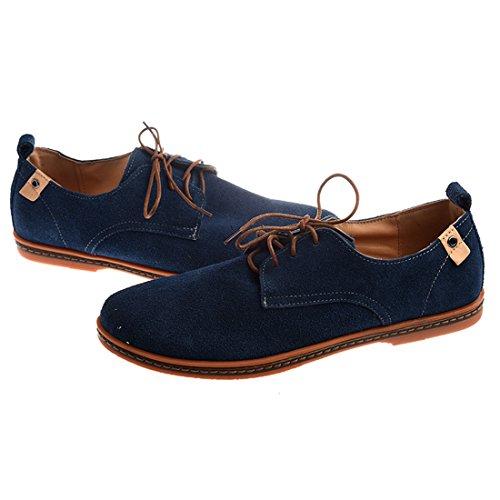 TOOGOO(R)NEU Veloursleder Europaeische Stil Leder Schuhe Herren Oxfords laessig blau 11