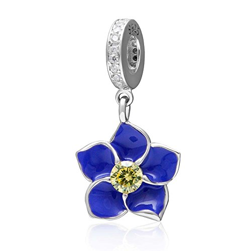 Flower Charm with Transparent Cz Stone and Fuschia Enamel 925 Sterling Silver Orchid Pendant Dangle Charm for Charms Bracelet