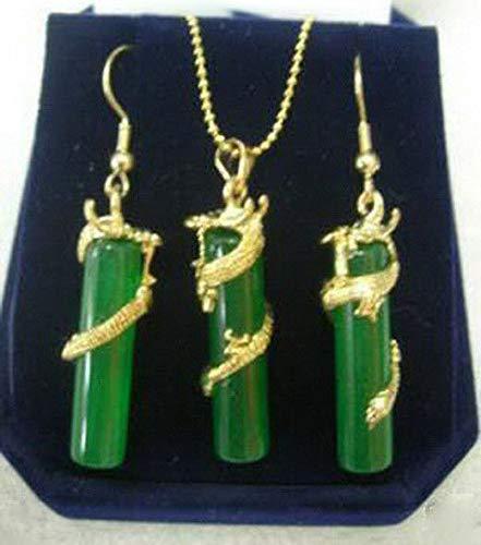 FidgetKute Green Jade 18KGP Dragon Pendant Necklace Earrings Set