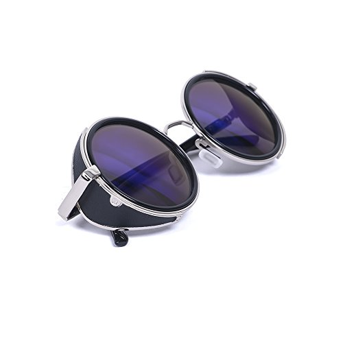 Vintage 50s Steampunk Hippie Cyber Sunglasses Retro Mirror lens Round Metal - Vintage Price Sunglasses