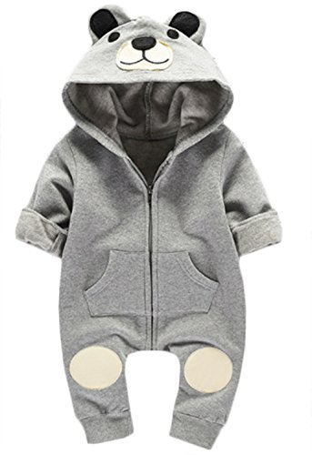 Toddler Boys Girls Autumn Cartoon Bear Hooded Romper Zipper Jumpsuit Outfits size 3-4Years/100 (Grey)